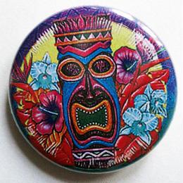 """ハワイの神話シンボル""""ティキ""""とお花缶バッチ"""