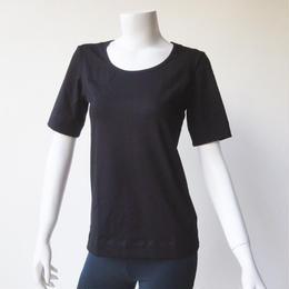 Tシャツショートスリーブ コットンスパンデックス薄手 ブラック[YT.31CL/L-BLACK]