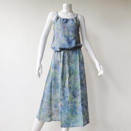 サマードレス フリーサイズ レーヨンボイル薄手 グリーンブルー・ドット[DRESS.006-GREEN BLUE DOT]
