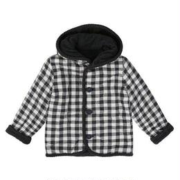 【little cotton clothes 】jojo reversible coat - charcoal chunky cord and charcoal gingham