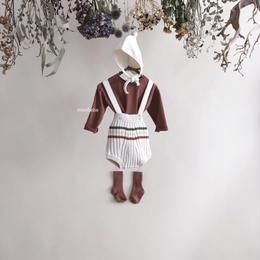 【monbebe】border knit romper