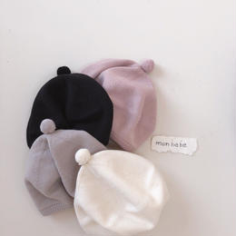 【monbebe】ponpon knit beret