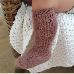 【condor】side open work  socks - praline
