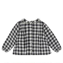 last 1【little cotton clothes】wendy blouse charcoal  gingham check