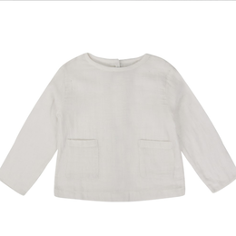 【little cotton clothes】ST IVES TOP - WHITE MUSLIN