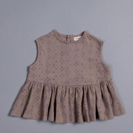 last 1【minimom】Juliet Top - Brown Broderie