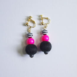 neon&stripe earrings (BK)
