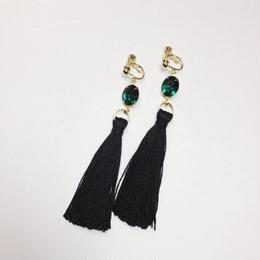 vintage green swarovski tassel earrings