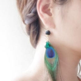peacock feather ear hook