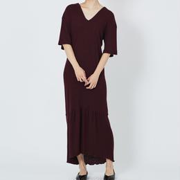 WOOL RIB STITCH DRESS  ウールテレコマキシワンピース (BURGUNDY)