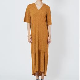 WOOL RIB STITCH DRESS ウールテレコマキシワンピース (MUSTARD)