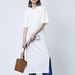COTTON LOOP KNIT DRESS  (WHITE)