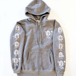 "TARIKI / ""駒"" 10oz  ZIP UP  HOODIE  GRAY"