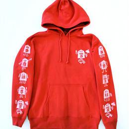 """TARIKI / """"駒"""" 10oz  PULL  HOODIE RED"""