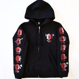 "TARIKI / ""駒"" 10oz  ZIP UP  HOODIE BLACK"