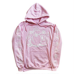 "TARIKI / ""佗力""throw-up 10oz  PULL  HOODIE  PINK"
