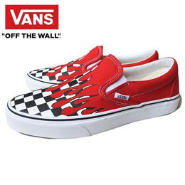 VANS UA CLASSIC SLIP-ON (CHECKER FLAME) RACING RED/TURE WHITE