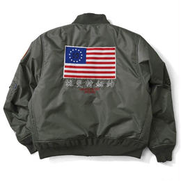 OLD GLORY ALLOVER PATCH FLIGHT JACKET (M.GREEN)