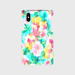 iphone 名入れオプション可♡スマフォケース/水彩花ティファニーブルー♡iPhone 5/5 s/ 5c/ 6/ 6s/ 7/ 8/ SE/ X対応