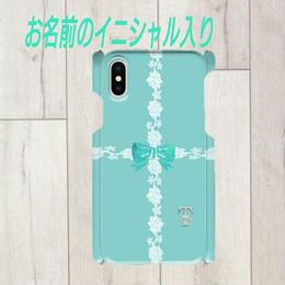 Android/ iphone Plus 銀イニシャル入り★ラインレース&リボン柄♡スマフォケース・♪Android&iPhone 6Plus/6sPlus/7Plus/8Plus対応