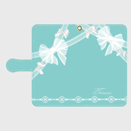 iphone plus&AndroidL★名入れ可!ティファニーブルーのガーリーレースリボン柄♡手帳型スマホケース♪