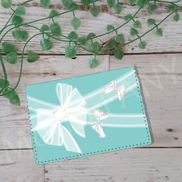 お名前入れオプション可♪♡ガーリーレースリボン柄カードケース(ティファニーブルー)