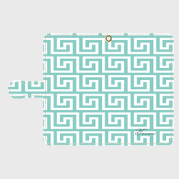 iphone plus&AndroidL★名入れ可!ティファニーブルーの幾何学柄♡手帳型スマホケース♪