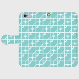 iPhone 6Plus/6sPlus/7Plus/8Plus、Andoroid L対応★名入れ可!ティファニーブルーのタイル柄・手帳型スマフォケース♪