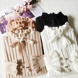 リボンパールデザインリブニットセーター