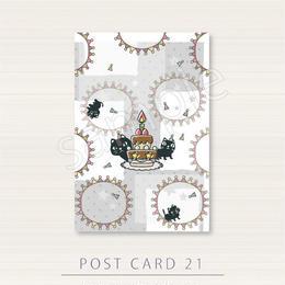 PC21やみねこのお祝いケーキのポストカード