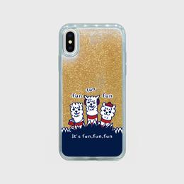ゴールド【スマホケース】あるぱかイズム_iPhoneグリッターケース