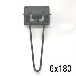 ブラック丸棒脚 6x180