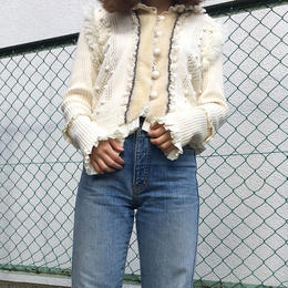 frill  lace  fur cardigan