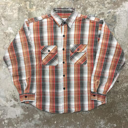 80's FIVE BROTHER Heavy Flannel Shirt BROWN×WHITE