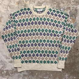 80's~ Scottish Isles Argyle Cotton Sweater