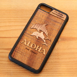【 ドルフィン 】ハワイ産 スマホケース 【 Ho Aloha 】 ハワイアン コアウッド アイフォンケース