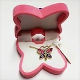 【 バタフライ 】ピンク  Wildlife Garden アニマルペンダント 愛しい ベロアボックス ♡ ユニークな動物たち ペンダント 40cm アジャスタ付