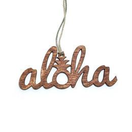 木の温もりを感じる ハワイ でデザインされ手作りされた 木製 オーナメント【アロハ】