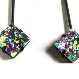 painting  ◇ _  purple pierced / earrings