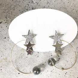 PLANET- crystal _ silver  pierced / earrings