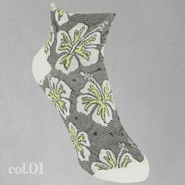【nonnette】Hibiscus Socks NS192T- 01/ white