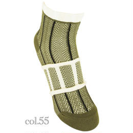 【nonnette】 Stripe mesh  Socks  NS160Y-2color