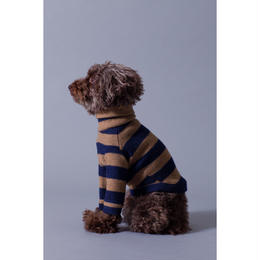 Stripe Wool Knit High Neck Long Sleeve Navy × Beige < SS ~  S/M >