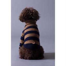 Stripe Wool Knit High Neck Long Sleeve Navy × Beige < M ~ M/L >
