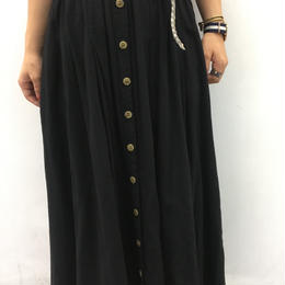 front button long skirt black
