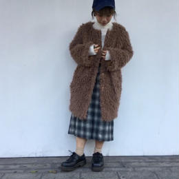 ''NEW'' FUR/INNER  COTTON REVERSUBLE COCOON COAT