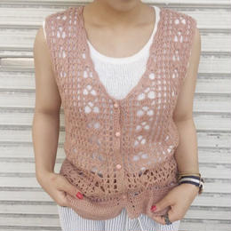 no sleeves knit cardigan pink