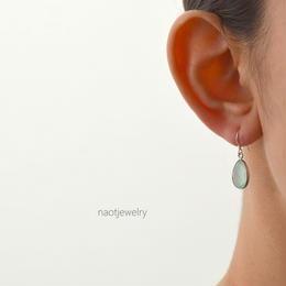Frame stone Aqua chalcedony Earring