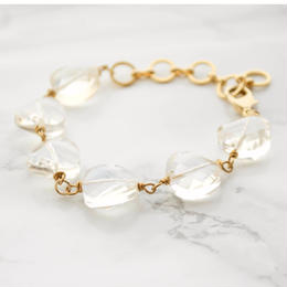 Faceted Cut Round Glass Bracelet