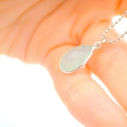 Frame Stone Aqua Chalcedony Necklace